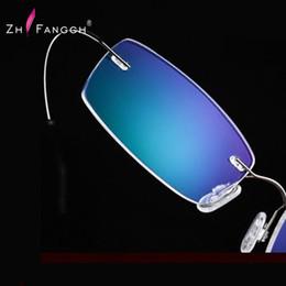Wholesale Titanium Rimless Glasses Wholesale - Wholesale-ZHFANGCH 2016 New Titanium Brand Silhouette Rimless Glasses Frame Eyeglasses Men women With Original Case Oculos de grau