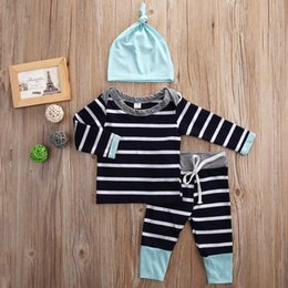 Wholesale Boys Zebra Outfits - 2016 baby suits 3PCS Newborn Kids Boys Girls cotton striped T-shirt Tops & Pants+Hat casual Clothes good quality boy girl cool Outfits Sets