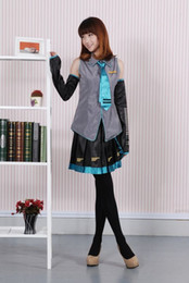 Wholesale Uniform Dresses Women - Anime Vocaloid Hatsune Miku Cosplay Costume Halloween Women Girls Dress Full Set Uniform and Many Accessories