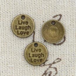 Wholesale Laugh Necklace - 120pcs Charms live laugh love 12mm Antique Making pendant fit,Vintage Tibetan Bronze,DIY bracelet necklace