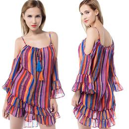 Wholesale Short Prom Rainbow Dress - Prom Dresses Short Rainbow Printing Dress Beach Dressing Lady Summer Sexy Party Dresses