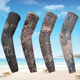Wholesale Temporary Tattoo Sleeves For Men - Wholesale-1 pc Fashion Punk Elastic Tattoo Arm Warmers Fake Temporary Tattoo Sleeve Designs Body Arm Stockings Tatoo for Cool Men Women