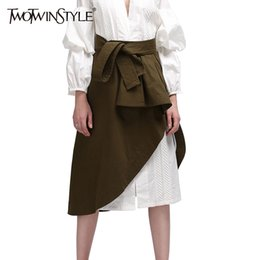 Wholesale Korean Up Skirts - Wholesale- TWOTWINSTYLE Wrap Women Skirts Midi Ruffle Lace up High Waist A Line Long Skirt Asymmetrical Female Clothes Korean Army Green