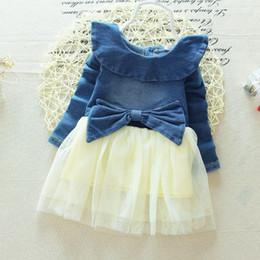 Wholesale Girls Skirt Cowboy - 2016 New Arrival Girls Summer Jeans Dress With Lace Net Yarn Skirt Cute Girl Cowboy Stitching Dresses Children Princess Dress
