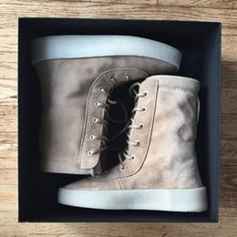 "Wholesale Cowskin Shoes - Kanye west Season 2 ""Crepe"" Boot Taupe US KM1011 350 750 950 Kanye Pablo Ovo running shoes outdoor boots Sports shoes"
