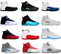 Wholesale Men Low Rise Leather - 2017 air retro 12 XII basketball shoes ovo white Flu Game GS Barons wolf grey Gym red taxi playoffs gamma french blue sneaker
