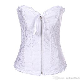 Wholesale White Corset Zip - Sexy ZIP FRONT SWEETHEART White Lace CORSET Small To 2XL 819WF