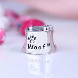 Wholesale 925 Silver Dog European Charm - 100% Real 925 Sterling Silver Not Plated Luxury Dog Bowl CZ Heart Flower Charms European Charms Beads Fit Pandora Bracelet DIY Jewelry