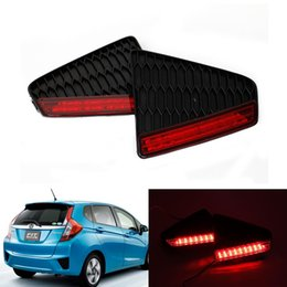 luz de freno de estacionamiento Rebajas 2x LED Car styling Red Rear Bumper Reflector Luz Aparcamiento de niebla Advertencia Luz de freno Stop Tail Lamp para Honda 2014-15 New Fit Jazz