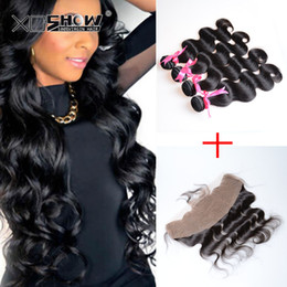 Wholesale Cheap Fast Shipping Virgin Hair - 13x4 Lace Frontal With Bundles Virgin Malaysain Human Hair Lace Frontal Closure With Body Wave Cheap Body Wave Frontal Fast free ship
