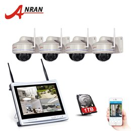 Wholesale Ip Dome Camera System - ANRAN 4CH NVR 12 Inch LCD Wireless Wifi Security Camera System 720P HD Vandalproof Dome IP CCTV Camera Surveillance Kit 1TB HDD Optional