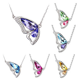 Wholesale Gold Butterfly Necklaces - 2016 New Hot Butterfly Rhinestones Alloy Chain Women Pendant Necklace Girl Jewelry LR181 Free Shipping