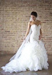 Wholesale Custome Made Sexy Wedding Dresses - NEW 2017 Hot Wholesale Custome Made Wedding dresses Mermaid dresses bride dress trailing Sexy Pearl Organza Sweetheart Bridal Wedding Dress