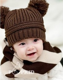Wholesale Double Ball Knitted Cap - 2016 fashion baby winter hat baby Double ball Knitted cap baby hats children hat crochet animal hat