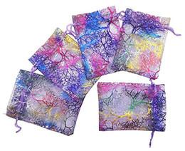 Canada 100Pcs Coralline Motif Drawstring Sacs Organza Sacs à bijoux de bonbons pour les faveurs de la fête de mariage Sacs de cadeau de Noël - Violet, 2 tailles cheap patterned organza bags Offre