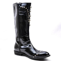 Wholesale Mens High Black Boots Fashion - 2016 freeshipping Black patent leather zipper New England pointed rivet personality male fashion boots HIGH BOOTS Mens tube 38cm high M105