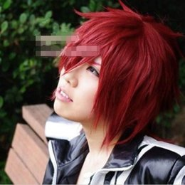 Wholesale Short Men Wig Lace - 100% free shipping New High Quality Fashion Picture full lace wigs>> Man Lavi Short Red Cosplay Stylish Fashion Hair Wig