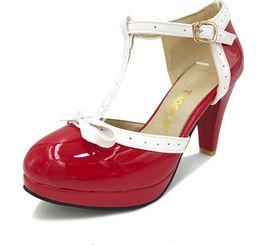 Wholesale Size 32 Sandals - Size 32-48 Women High Heel Sandals Round Toe Square Heels Shoes Women's Platform Sandals bow Wedding Shoes Footwear