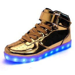 Wholesale Glow Usb - 2016 Colorful glowing shoes USB charging ghost LED luminous breathable luminous shoes sneakers men & women Running shoes DHL free shipping