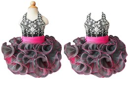 Wholesale Cute Babies Skirt - Fashion Black Toddler Pageant Dresses Cute Baby Organza Ruffles Mini skirt Fuchsia Satinwaist Infant Cupcake Dress Ball Gowns