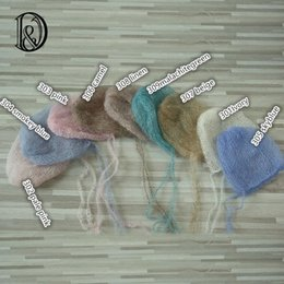 Wholesale Real Props - Handknit Real Mohair Baby Bonnet Soft Little Mohair Newborn Size Newborn Photography Props