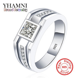 Wholesale Men Wedding Rings Real - YHAMNI Fashion Real Solid 925 Sterling Silver Rings for Men Wedding Engagement Ring Fashion Zircon CZ Jewelry MJZ001
