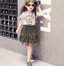 Wholesale Leisure Colours - Hot Sell Children Clothes Sets 12 Colors Girl Fashion Cotton T-Shirts + Cute Tutu Skirt Leisure 2 Piece Multicolor Party Skirt Sweet Outfits