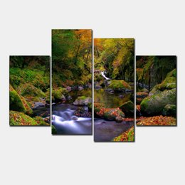 Wholesale Water Mountain Painting - Unframed 4pcs Mountain And Water Landscape Wall Art Decor Modern Printed Canvas For Home Art Decoration Bedroom Picture F 0038