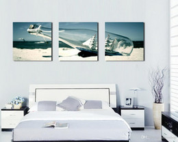Immagini barche online-Moderna bella barca in bottiglia di deriva Immagine Stampa giclée su tela Home Decor Wall Art Set30173