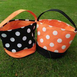 Wholesale Wholesale Totes Baskets - Wholesale Blanks 2016 Polka Dots Halloween Buckets Orange Black Polyester Halloween Tote Bag Halloween Candy Baskets DOM103349