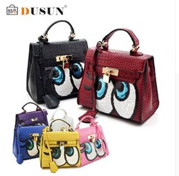 Wholesale Mouse Black Eye - women flap bag small cute fun mouse big eye bags leather handbags kawaii sweet heart girl lock sequins bolsa messenger bags