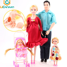 Wholesale Real Families - Wholesale-UCanaan Toys Family 5 People Dolls Suits 1 Mom  1 Dad  2 Little Kelly Girl  1 Baby Son 1 Baby Carriage Real Pregnant Doll Gifts