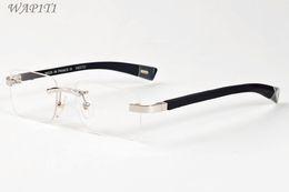 Wholesale Women S Rimless Eye Glasses - summer styles buffalo horn sunglasses for men metal gold silver 2017 brand designer rimless sun glasses for women come with box oculos de s
