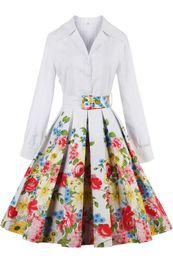 Wholesale Ladies Dress Trench Coat - Vestidos 2016 Bow Autumn Dresses Elegant Ladies Vintage Dresses Plus Size Ukraine Office Lady White Shirt Long Sleeves Trench Coats FS0492