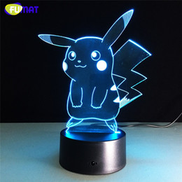 Wholesale Cute Desks - Cartton 3D Lamp Cute Pikachu Night Lights LED Night Lamp with 7 Colors Desk Lamp as Children Birthday& Holiday Gifts