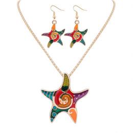 Wholesale Ear Cuffs Horse - Enamel Sea Horse Angel Wing Necklace Butterfly Starfish Earrings Set Silver Plated Pendant Ear cuff Maxi Enamel Jewelry Women Gift good