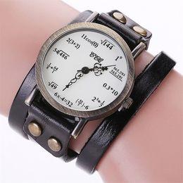 Wholesale formula brands - Brand luxury Vintage Creative Leather Math Formula Equation Watch Casual Women Bracelet Simple Two-lap Digital Cow watches