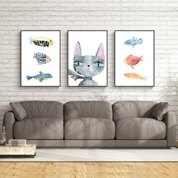 Wholesale Fishing Pictures Free - 3 paintings of modern Nordic family decorative painting wall art painting poster cat and fish story size 40cmx50cm free shipping