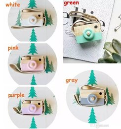 Wholesale Wholesale Baby Toy Camera - 5colors Childrens Wooden Camera Christmas Kids cool travel Mini toy Baby cute Safe Natural Birthday Gift decoration Children's Room