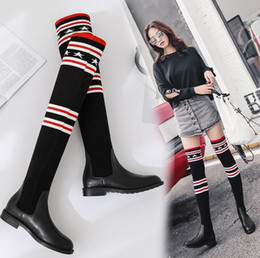 Wholesale Thigh High Leather Heels - Free shipping 2017 Winter Over Knee High Boots Women Stovepipe Socks Boots Star Print Elastic Slim Leg Crochet Boot Lady Wool Motorcycle Bot