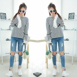Wholesale Tshirts Panel - New Fashion Women clothes long Sleeve 100% cotton Tops clothes autumn women t shirts Striped tShirts free shipping