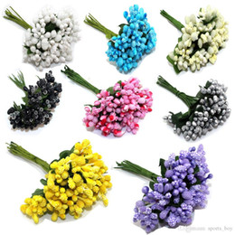 Wholesale Dried Stems - 12PCS lot Mulberry party Artificial Flower Stamen wire stem marriage leaves stamen wedding box decoration Christmas Halloween