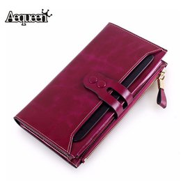 Wholesale Ladies Clutch Wallets For Phones - Wholesale- AEQUEEN Genuine Leather Wallets Women Purse For Girls Cowhide Coin Purse Lady Long Purses Button Pouch Card Holders Clutches
