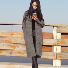 Wholesale Lapel Sweater - 2016 Long Cardigan Women Autumn Winter Sweater Women Solid Ladies Long Sleeve Knitted Cardigans Sweater Gray Camel Black Color FS0691