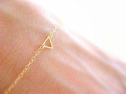Wholesale Geometric Bracelets - 10PCS- B029 Tiny Open Triangle Bracelets Chevron Triangle Outline Bracelet Simple Hollow Line Geometric V Bracelets for Women