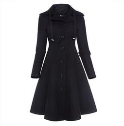 Wholesale Long Black Coat Gothic - Fashion Long Medieval Trench Coat Women Winter Black Stand Collar Gothic Coat Elegant Women Coat Vintage Female 2017 Mujer clothing