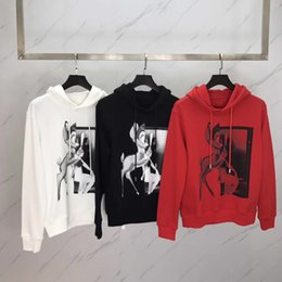 Wholesale Red Sketches - 2017 New Mens Hoodies and Sweatshirts Hooded Sweatshirts Male Clothing Fashion Sketch the deer animal motifs Hoody Men Hoodies