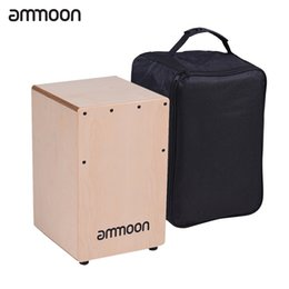Wholesale Wooden Instruments For Children - Wholesale- ammoon Wooden Cajon Box Drum Hand Drum Persussion Instrument Birch Wood with Adjustable Strings Carrying Bag for Children Kids