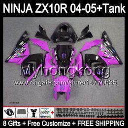 Wholesale Ninja Kawasaki Fairings Pink - 8Gifts +Tank Cover For KAWASAKI 04-05 NINJA Rose black ZX 10R 10 R 2004 2005 19Y186 ZX-10R 04 05 ZX10R NEW Pink 2004 2005 Fairing Kit