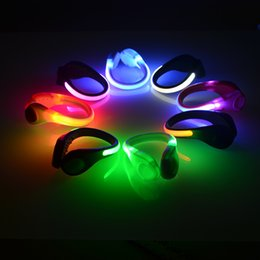 Wholesale Wholesale Led Shoelaces - 2 Pcs LED Luminous Shoe Clip Light Night Safety Warning LED Bright Flash Light For Running Sports Cycling Bicycle Multipurpose